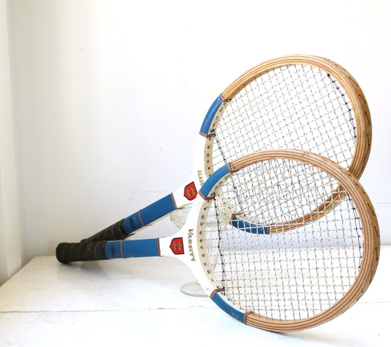 vintage tennis racquets. 1970s wood Slazenger Varsity, set of 2. Size 4.5 / retro athletic / the SPORTS DRINK racquets