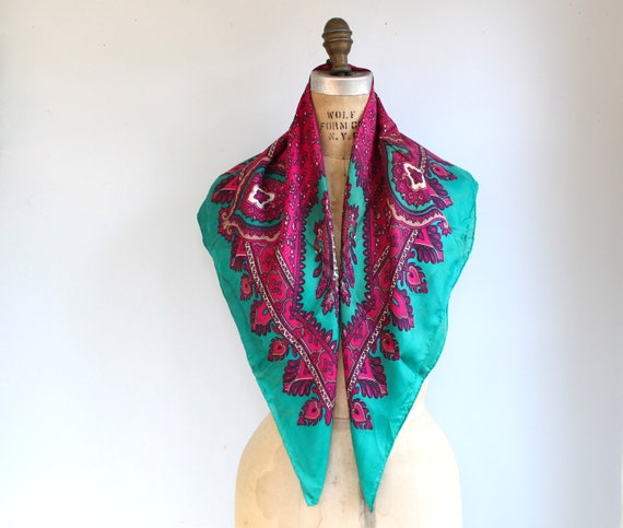 vintage silk paisley scarf. 1970s teal and purple by Sally Gee / boho abstract / the SWEET CREPES scarf