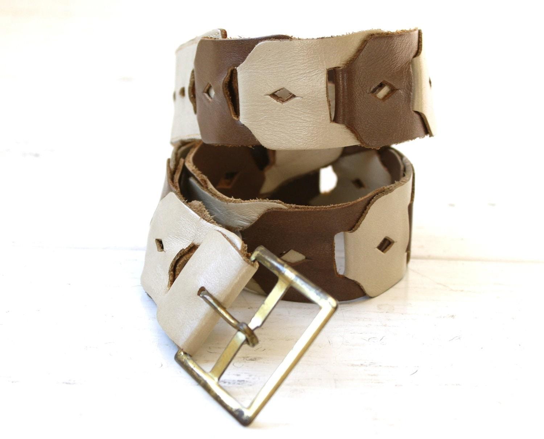 vintage 1970s leather link belt sm med by