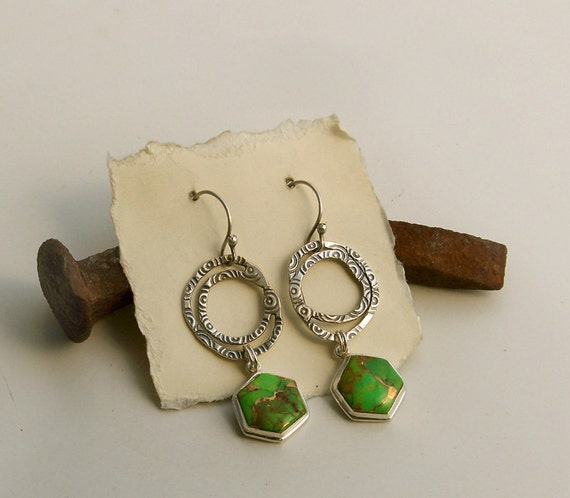 RESERVED LISTING . Stamped Free Form Sterling Silver Hoop n' Dangle Earrings, Green Turquoise Charms