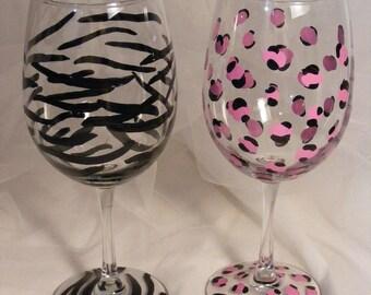 leopard and zebra wine glasses