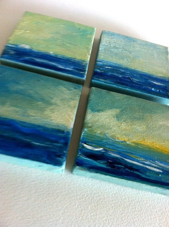 Ocean Views - Set of Four 5 x 5 Oil Paintings- Original- Texture- Water- Beach- Blue- Waves- Mini Gallery- Collection