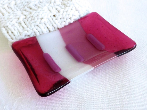 White and Pink Fused Glass Soap Dish
