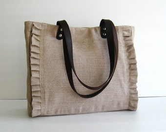 Sale - Natural Color Linen Tote, handbag, purse, shoulder bag, ruffles, messenger, pleats, durable - Sweety