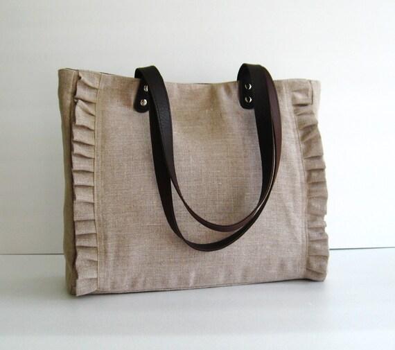 Sale - Natural Color Linen Tote, handbag, purse, shoulder bag, ruffles, messenger, pleats, durable - Sweety