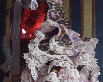 Victorian Style Ruffle Bustle Animal print Denim and Lace.