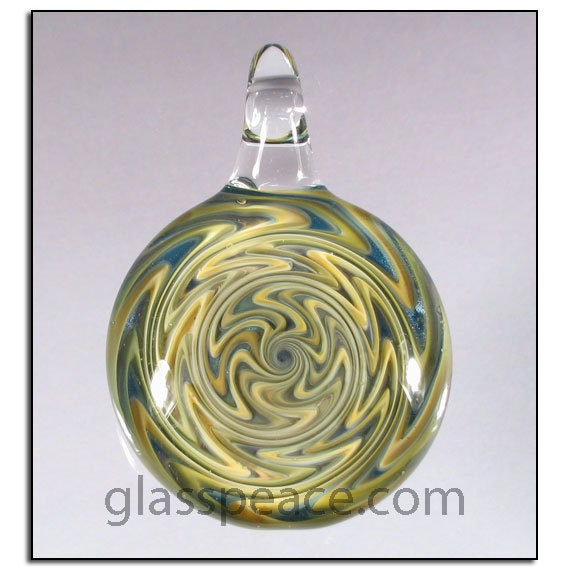 Wig Wag Blown Glass Pendant - Boro Lampwork Focal Bead - Hand Blown Glass Jewelry (4092)