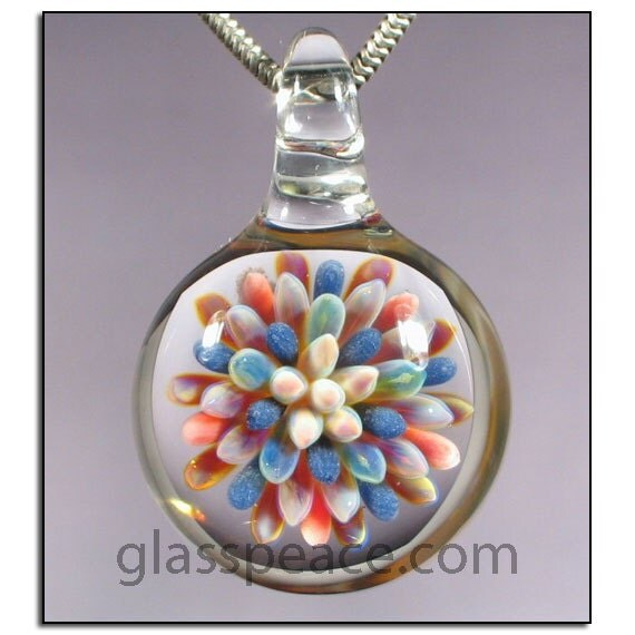 SALE - Sea Anemone Glass Pendant - Boro Lampwork Bead - Hand Blown Glass Jewelry (2579)