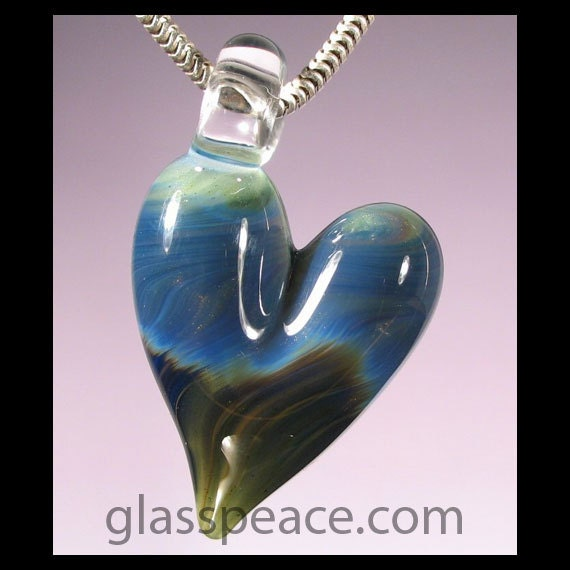 SALE - Blue and Green Boro Glass Heart Pendant - Lampwork Bead Necklace Focal - Hand Blown Glass Jewelry (2841)