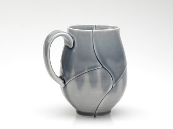 Large Upright Mug with Blue and Grey Twisted Lotus Pattern, 15 Oz.