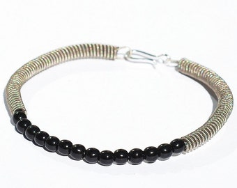 Guitar String Bracelet- Upcycled Silver and Black Bead Guitar String Jewelry, Music Jewelry, Guitar Player Gift