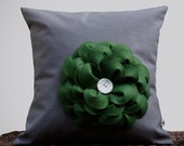 Emerald Green Felt Flower PILLOW COVER in Gray Linen by JillianReneDecor Home Decor (Ready to Ship)
