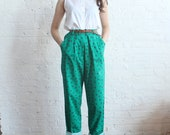 high waist pants green floral trousers (s)