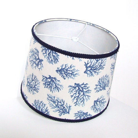 items similar to nautical drum lamp shade navy and white. Black Bedroom Furniture Sets. Home Design Ideas