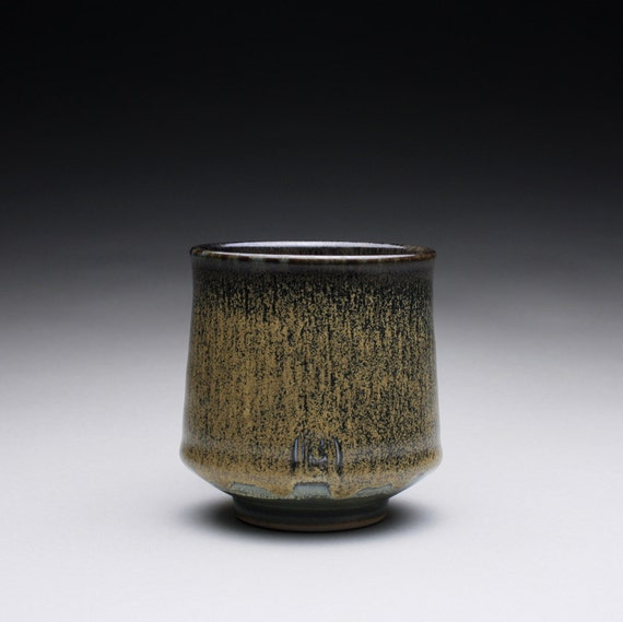 porcelain cup - tumbler with yellow/ black and olive blue celadon glazes