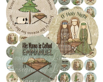 Instant Download - NEW - Holy Night Nativity (2 inch Round) Bottlecap Digital Collage Sheet  Sale- printable sticker magnet button