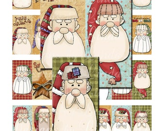 Instant Download - FOLK Santa Claus Faces Country (1 x 2 Inch) Bottlecap Images  Sale - Digital Collage Sheet christmas holiday printable