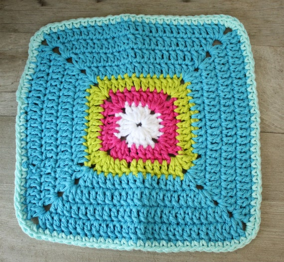 Crocheting Dish Rags : Crochet Granny Square Dish cloth. Large Rag.