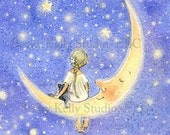 Fairy in a Periwinkle Sky Print,  Fairy Art, Fairy on the Moon, 8 X 10-  free shipping today!