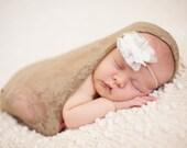 SALE...Soft Mocha Newborn Stretch Lace or Knit Wrap Photography Prop