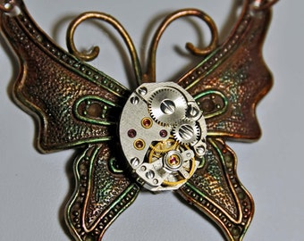 Victorian butterfly pendant necklace with jeweled  vintage watch parts movement rubies fashion  steampunk goth art  sculpture