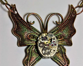 Butterfly pendant necklace with jeweled vintage watch parts movement rubies fashion victorian choice of chain art  sculpture