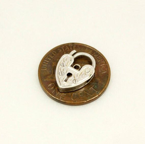 Vintage Tiny Heart Padlock Charm Pendant Clasp, Sterling Silver, English