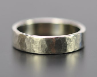 Men's 5mm White Gold Hammered Wedding Band, 14K Palladium White Gold Ring, Matte Finish, Recycled Gold, Sea Babe Jewelry