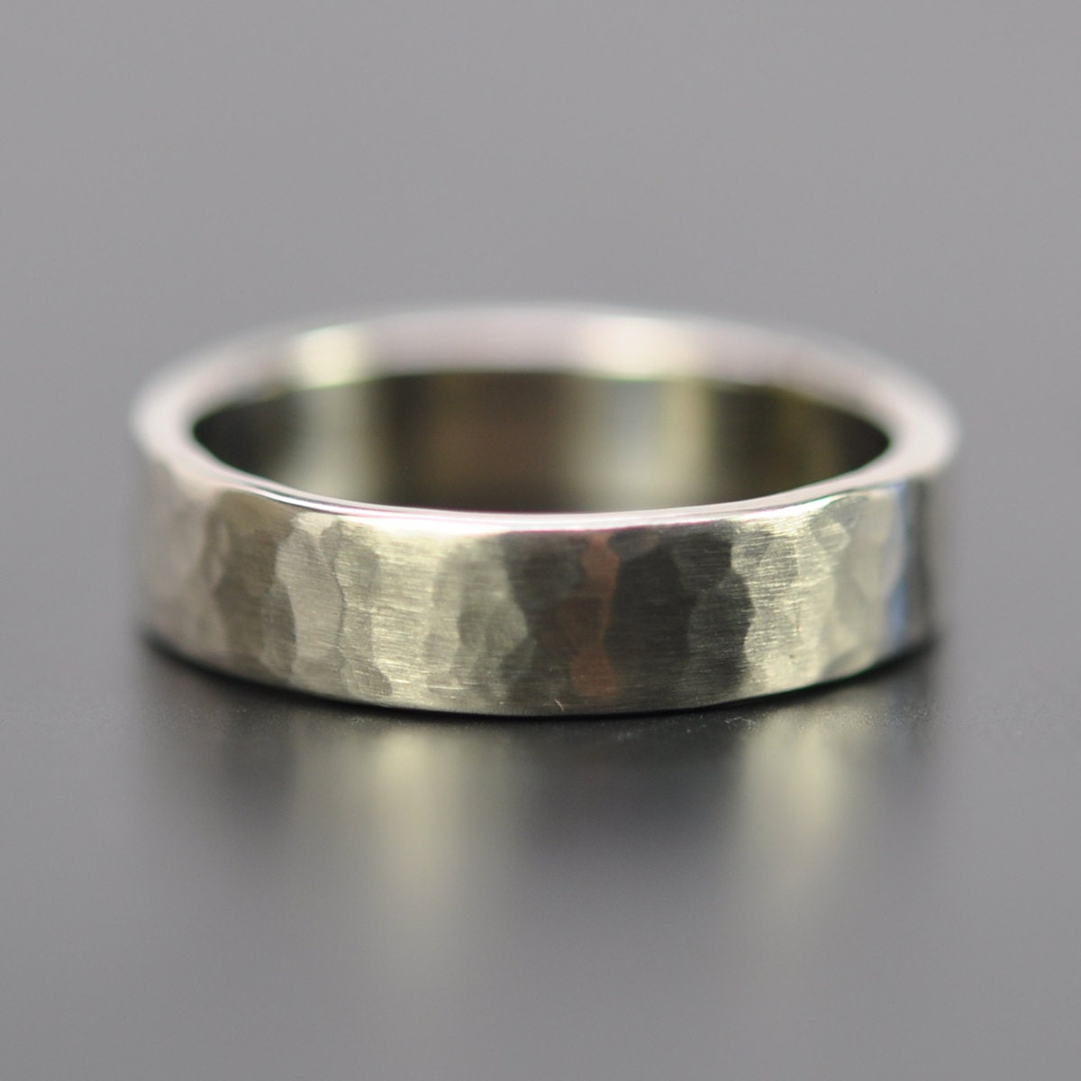 White Gold Bands: Men's 5mm White Gold Hammered Wedding Band 14K Palladium
