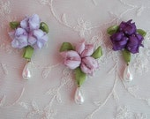 3pc Chic Glass Seed Bead Beaded Ribbon Rose Bud Berry Flower Applique Trim Baby Doll Hair Bow w pearl drop