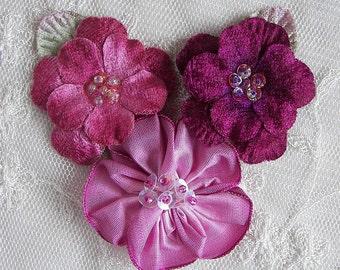 Velvet Beaded Flower Applique Lt Magenta Wine Eggplant Sequin Glass Beads Corsage