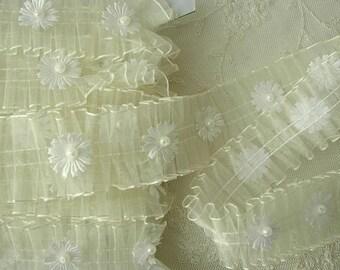 CREAM Organza Pleated Ruffle Ribbon Trim Christening Bridal Scrapbook Quilt Fairy Tutu