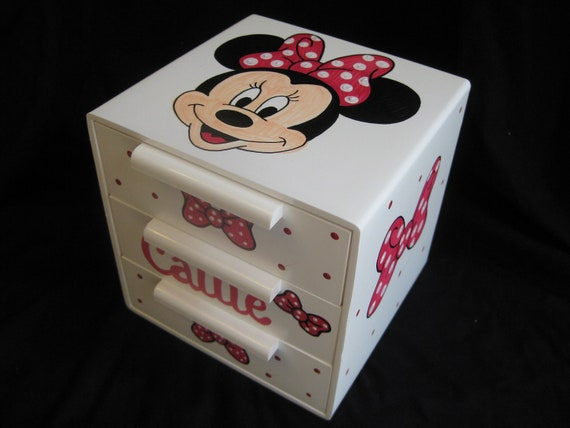 Personalized bow holder jewelry box red minnie mouse for Minnie mouse jewelry box
