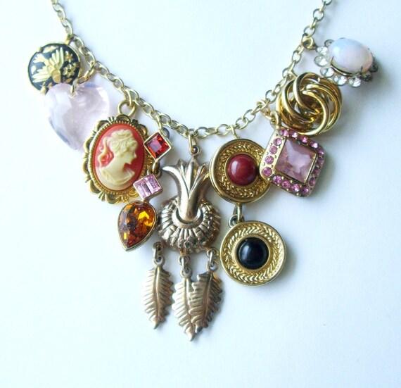 Boho Chic Upcycled Charm Necklace