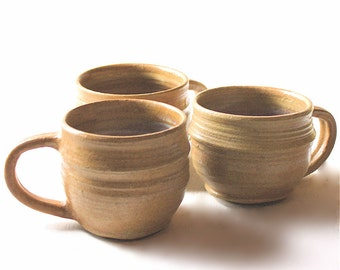 Golden Pottery Mug Trio in Honey Colored Stoneware Vermont Made