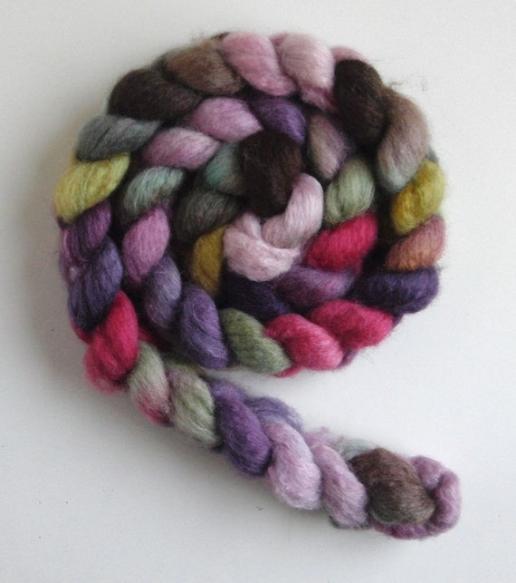 BFL/ Silk Wool Roving (Top) - Handpainted Spinning or Felting Fiber, Roses and Chocolate