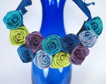"""Ribbon rose bib necklace -- individually handmade French ribbon roses in """"ocean"""" hues -- a one-of-a-kind gift"""