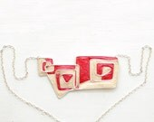 Clearance / Sale Geometric Red Spiral Necklace Sterling, Paper Jewelry 1st Anniversary Gift Navajo Rug Tribal Statement Tan Aunt Wife Gift