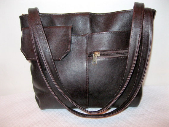 saleGenuine thick Colombian vegetable tanned  leather satchel purse eggplant