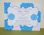 Personalized Baby shower invitation blue and white flowers (set of 10)