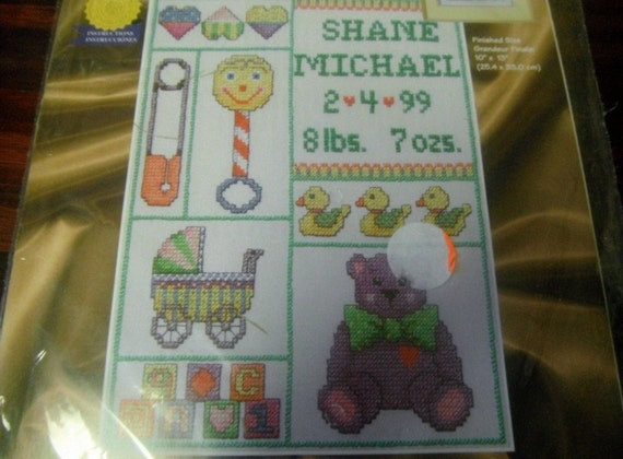Stamped Cross Stitch Birth Sampler Kit Baby Collage Janlynn 21-145 Sealed and Ready to Stitch