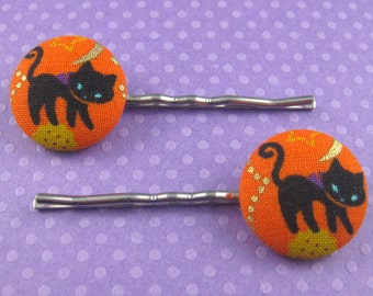 Black Cat Bobby Pins - Halloween Fabric Covered Buttons