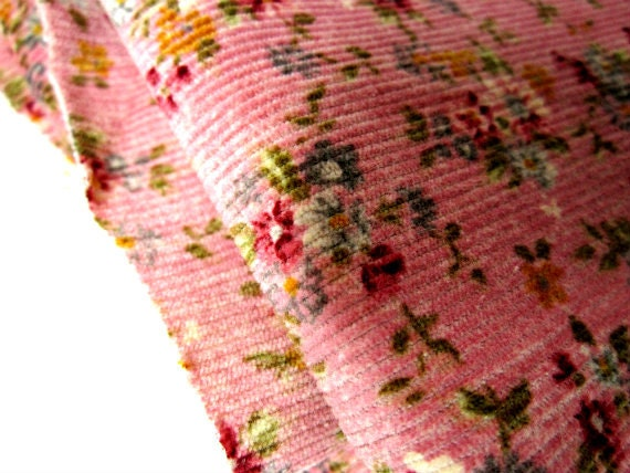 Corduroy Cotton Fabric Tiny Floral Print On Old Rose Pink