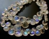 1/2 Strand-- Grade AAA Rainbow Moonstone Blue Fire Smooth Heart Shape Briolette  -Size 7 mm