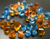 Extremely Beautiful  Citrine and Swiss Blue Color  Quartz  Faceted  Twisted  Drops Briolettes -RF1