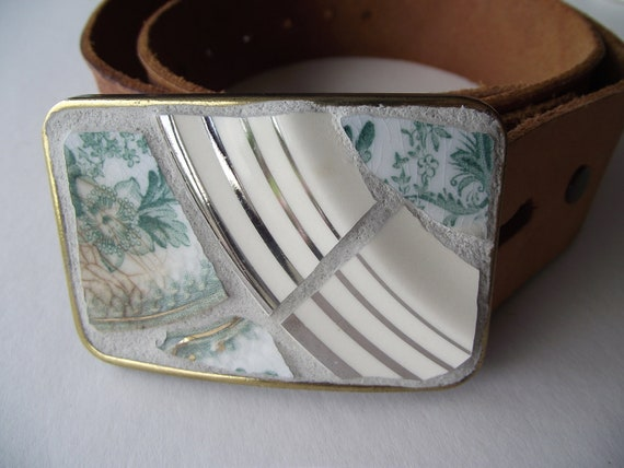 Mosaic Belt Buckle - Aqua and Platinum - SALE