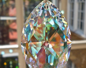 "AB Swarovski Crystal Suncatcher, 50mm ab Marquis Shaped Prism, ab Crystal Strand - Glistens in Low Light - ""LOVELY LINDA"""