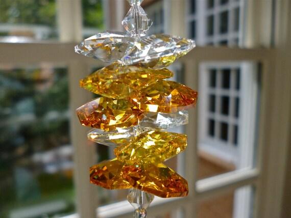 "Prism Crystal Sun Catcher, Diamond Window Decoration, Ornament, Swarovski Crystals in Clear, Topaz and Yellow - ""SAFFRON"" -"