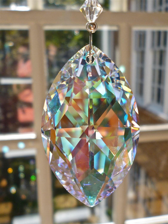 Ab Swarovski Crystal Suncatcher 50mm Ab Marquis Shaped Prism