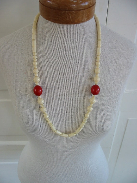 Vintage Necklace Long Beaded Jewelry White Red